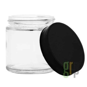 5 oz Glass Jar Packaging with Black or White Lid for Cannabis Flower Packaging